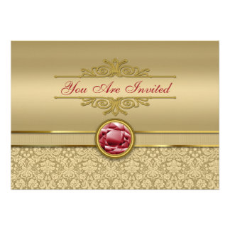 Faux Dark Ruby Red Gemstone Metallic Gold Damask Personalized Announcements