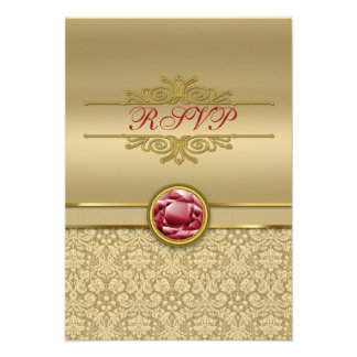Faux Dark Ruby Red Gemstone Metallic Gold Damask Announcements