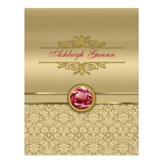 Faux Dark Ruby Red Gemstone Metallic Gold Damask Letterhead