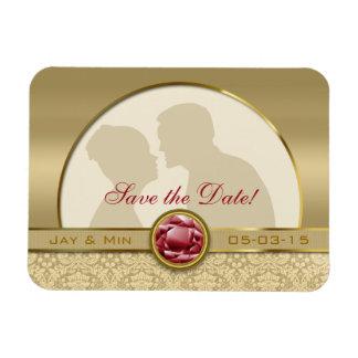 Faux Dark Ruby Red Gemstone Metallic Gold Damask Magnet