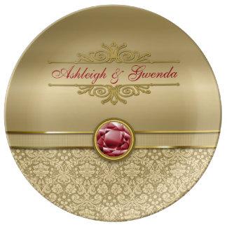 Faux Dark Ruby Red Gemstone Metallic Gold Damask Porcelain Plate