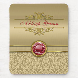 Faux Dark Ruby Red Gemstone Metallic Gold Damask Mouse Pad