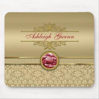 Faux Dark Ruby Red Gemstone Metallic Gold Damask Mouse Pads