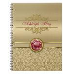 Faux Dark Ruby Red Gemstone Metallic Gold Damask Spiral Notebooks