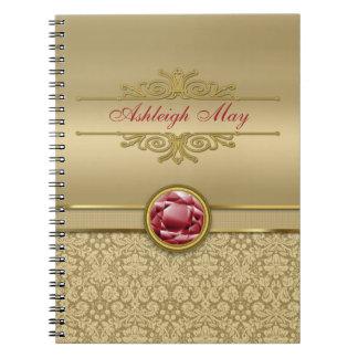 Faux Dark Ruby Red Gemstone Metallic Gold Damask Notebook