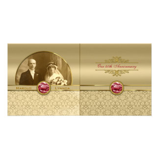 Faux Dark Ruby Red Gemstone Metallic Gold Damask Customized Photo Card