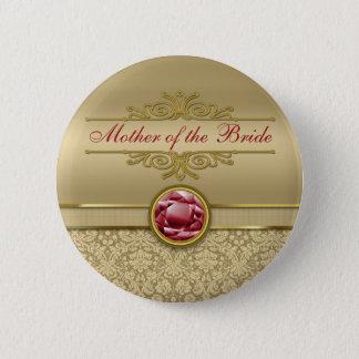 Faux Dark Ruby Red Gemstone Metallic Gold Damask Pinback Button