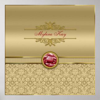 Faux Dark Ruby Red Gemstone Metallic Gold Damask Posters