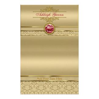 Faux Dark Ruby Red Gemstone Metallic Gold Damask Stationery