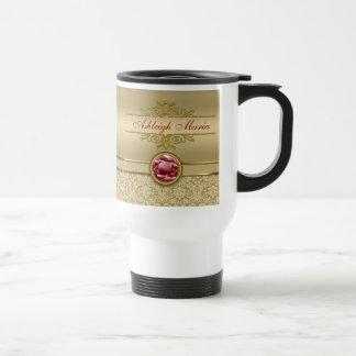 Faux Dark Ruby Red Gemstone Metallic Gold Damask Travel Mug