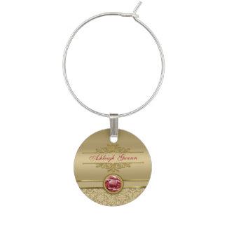 Faux Dark Ruby Red Gemstone Metallic Gold Damask Wine Glass Charm