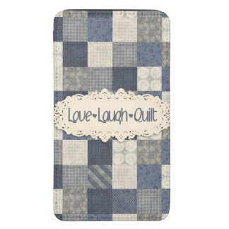 Faux denim blue cream quilting quilter pattern galaxy s5 pouch