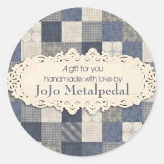 Faux denim blue cream quilting quilter pattern classic round sticker