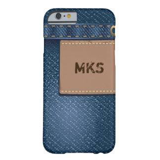 Faux Denim Jeans Pocket Leather Tag Monogram Barely There iPhone 6 Case