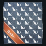 "Faux Denim White Sitting Cats Bandana<br><div class=""desc"">Faux denim blue jean material with white sitting cats silhouette pattern.  Red orange banner on diagonal.  Personalize it with a name!</div>"