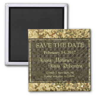 Faux Diamond and Gold Glitter Look 2 Inch Square Magnet