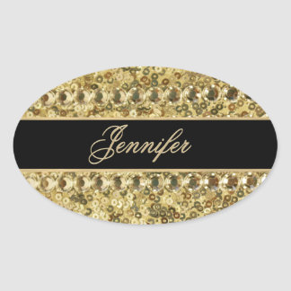 Faux Diamond and Gold Glitter Look Oval Sticker