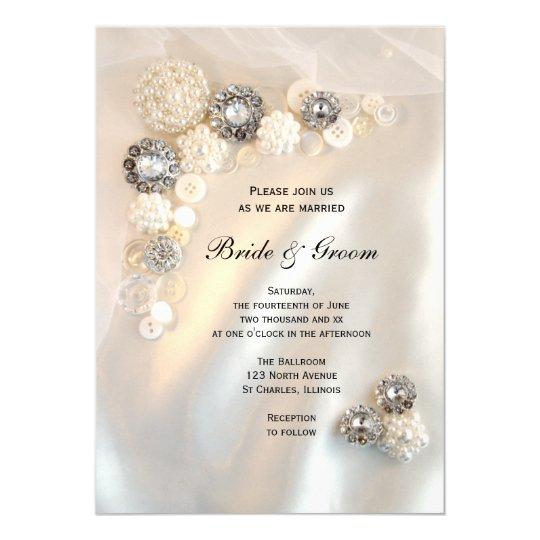 Www Zazzle Com Wedding Invitations: Faux Diamond And White Pearl Buttons Wedding Invitation