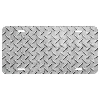 Faux Diamond Plating Background License Plate
