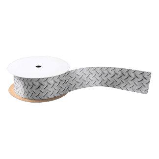Faux Diamond Plating Background Satin Ribbon
