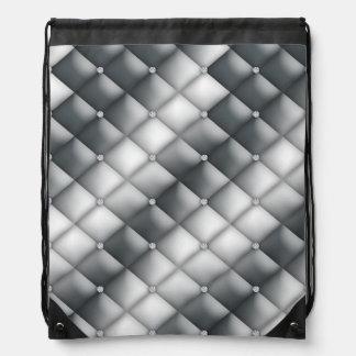 Faux Diamond Silver White Tufted Satin Bling Drawstring Backpack