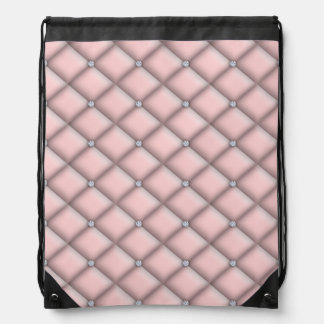 Faux Diamond Tufted Satin Bling Drawstring Backpack