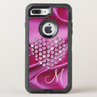 Faux Diamonds Heart Bright Pink Silk Waves Pattern OtterBox Defender iPhone 7 Plus Case