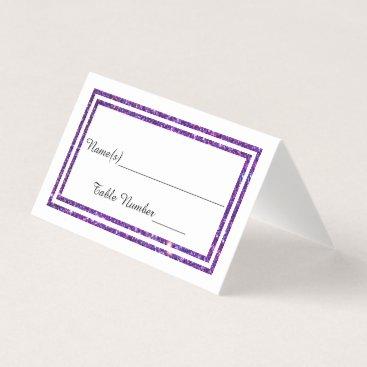 Wedding Themed Faux Double Purple Glitter Trim - Escort Card