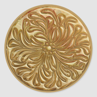 Faux Embossed Gold Design Seal Classic Round Sticker