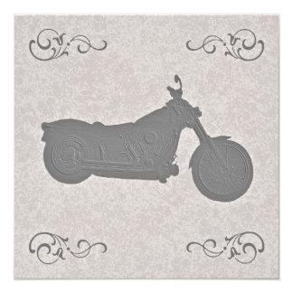 "Faux Embossed Motorcycle Biker Wedding Invitation 5.25"" Square Invitation Card"