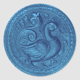 Faux Embossed Peacock Blue Set 1026 Classic Round Sticker