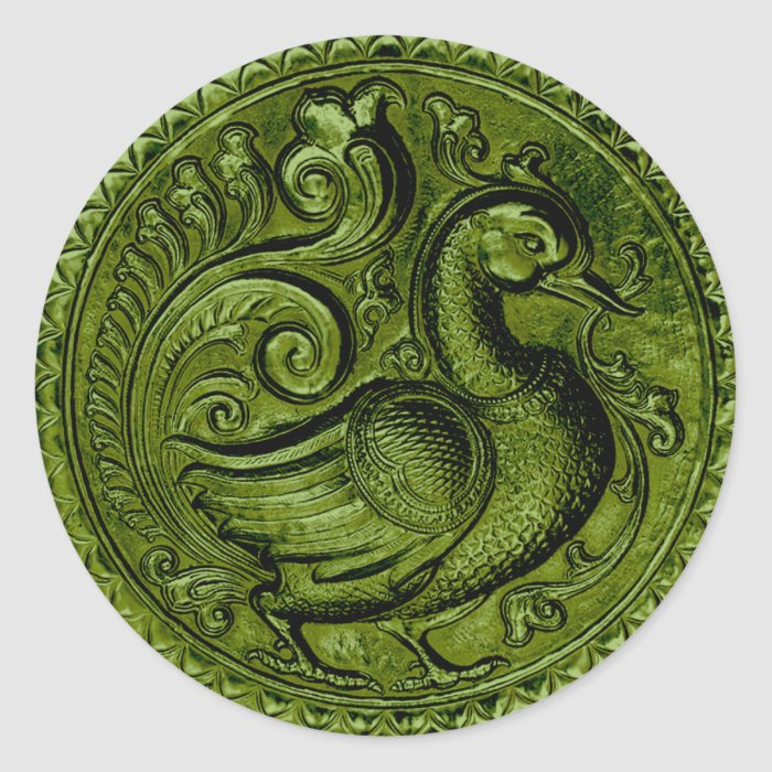 Faux Embossed Peacock Green Set 1026 Classic Round Sticker