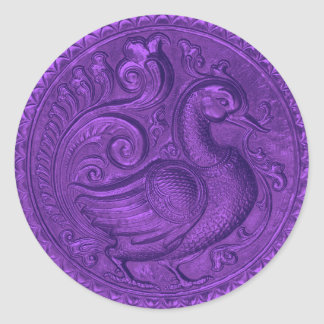 Faux Embossed Peacock Purple Set 1026 Classic Round Sticker