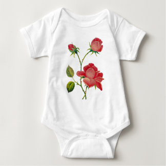 Faux Embroidered Deep Pink Roses Baby Bodysuit