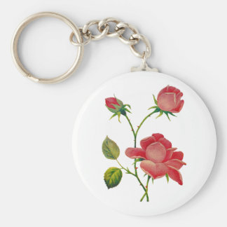 Faux Embroidered Deep Pink Roses Basic Round Button Keychain