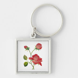 Faux Embroidered Deep Pink Roses Silver-Colored Square Keychain