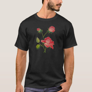Faux Embroidered Deep Pink Roses T-Shirt