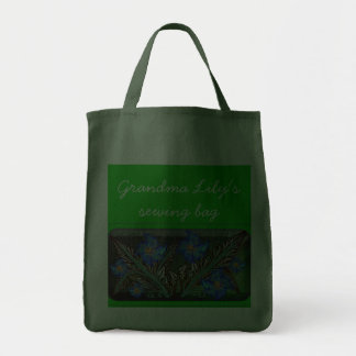 faux embroidered flower bouquet canvas bag