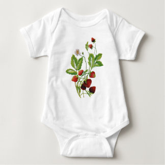 Faux Embroidered Fresh Strawberries Baby Bodysuit