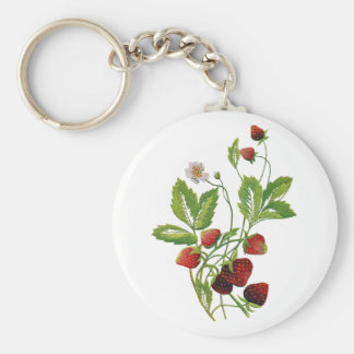 Faux Embroidered Fresh Strawberries Basic Round Button Keychain