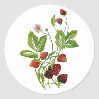 Faux Embroidered Fresh Strawberries Classic Round Sticker