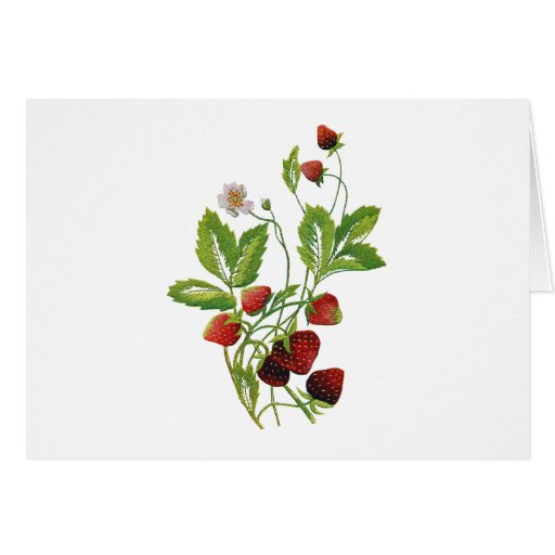 Faux Embroidered Fresh Strawberries Greeting Cards