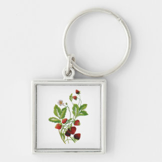 Faux Embroidered Fresh Strawberries Silver-Colored Square Keychain