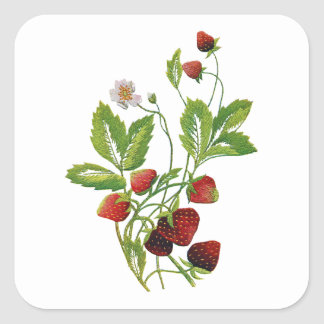 Faux Embroidered Fresh Strawberries Square Sticker