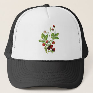 Faux Embroidered Fresh Strawberries Trucker Hat