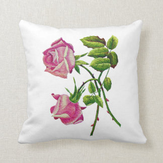Faux Embroidered Pink Roses Pillow