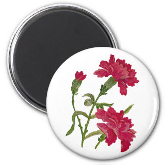 Faux Embroidered Red Carnations 2 Inch Round Magnet