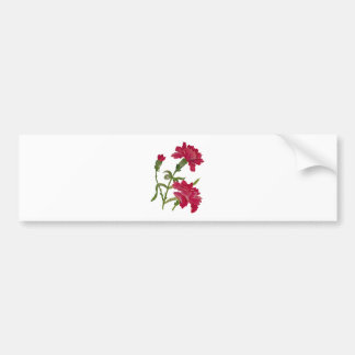 Faux Embroidered Red Carnations Bumper Sticker