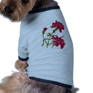 Faux Embroidered Red Carnations Pet Clothes