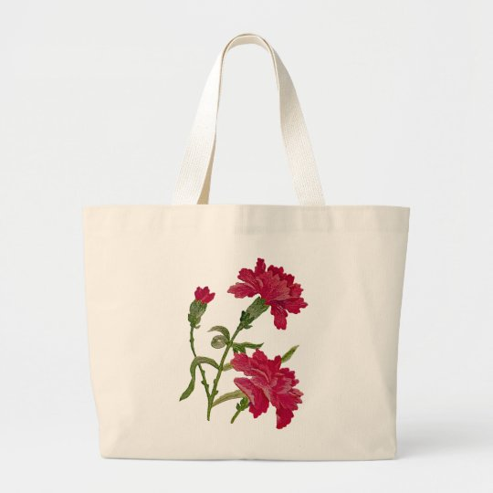 Faux Embroidered Red Carnations Large Tote Bag